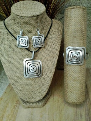 Spiral Square Necklace, or Earrings, or Wristlets