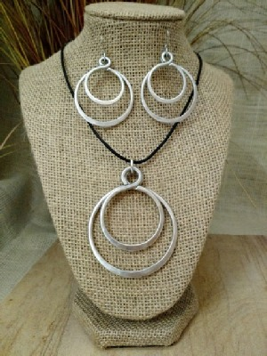 Circle Double Necklace, or Earrings