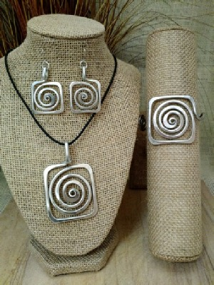 Square Curl Necklace or Earrings or Wristlet