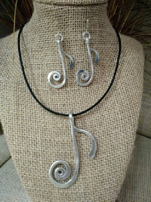 Quarter Note Necklace or Earrings