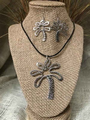 Palm Tree Necklace or Earrings