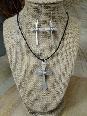 Flat Cross Necklace or Earrings