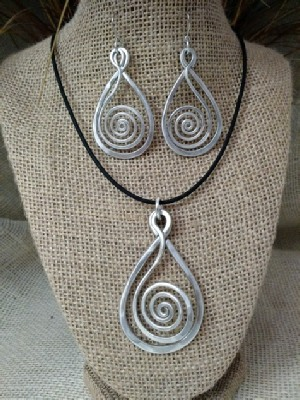 Teardrop Spiral Necklace or Earrings