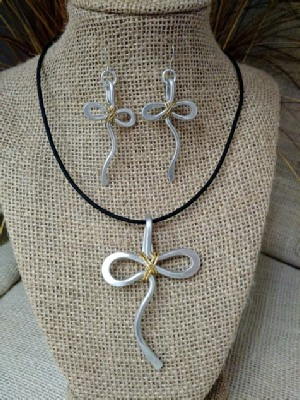 Mixed Metal Ankh Necklace or Earrings