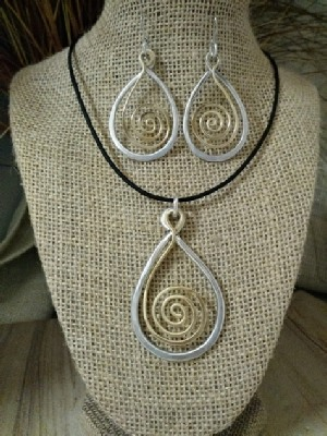 Mixed Metal Teardrop Spiral Necklace or Earrings