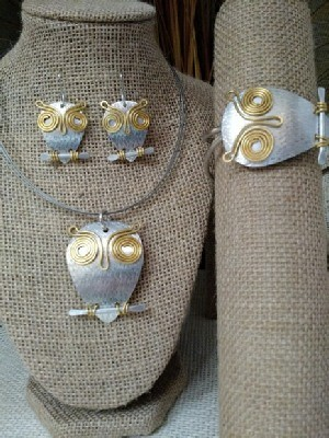 Mixed Metal Wise Old Owl Necklace Earrings Wristlet
