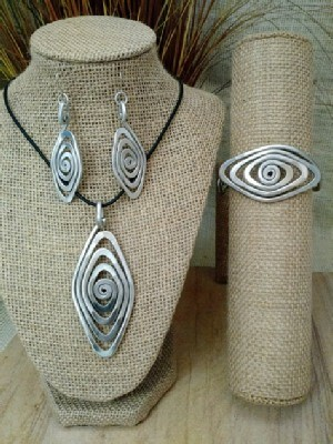 Spiral Eye Necklace, or Earrings, or Wristlets
