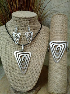 Spiral Triangle Necklace, or Earrings, or Wristlets