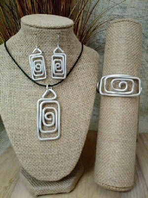 Spiral Rectangle Necklace,or  Earrings, or Wristlets