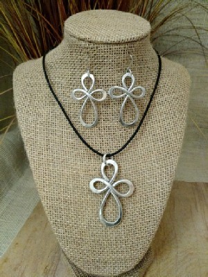 Open Cross Necklace, or Earrings