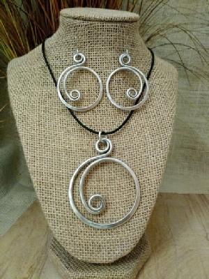 Curly Q Necklace or Earrings