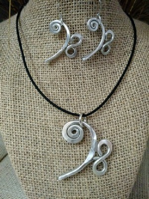 Bass Clef Necklace Earrings