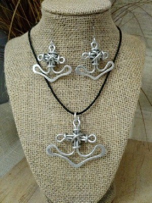 Anchor Necklace Earrings