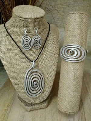 Spiral Egg Necklace or Earrings or Wristlet