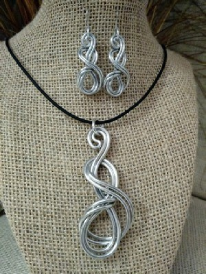 Elegant Knot Necklace,  or Earrings