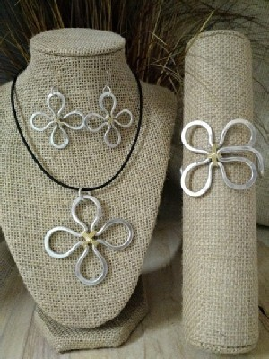 Mixed Metal Clover Necklace or Earrings or Wristlet