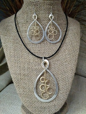 Mixed Metal Bubbly Necklace Earrings