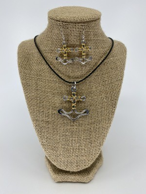 Mixed Metal Anchor Necklace or Earrings