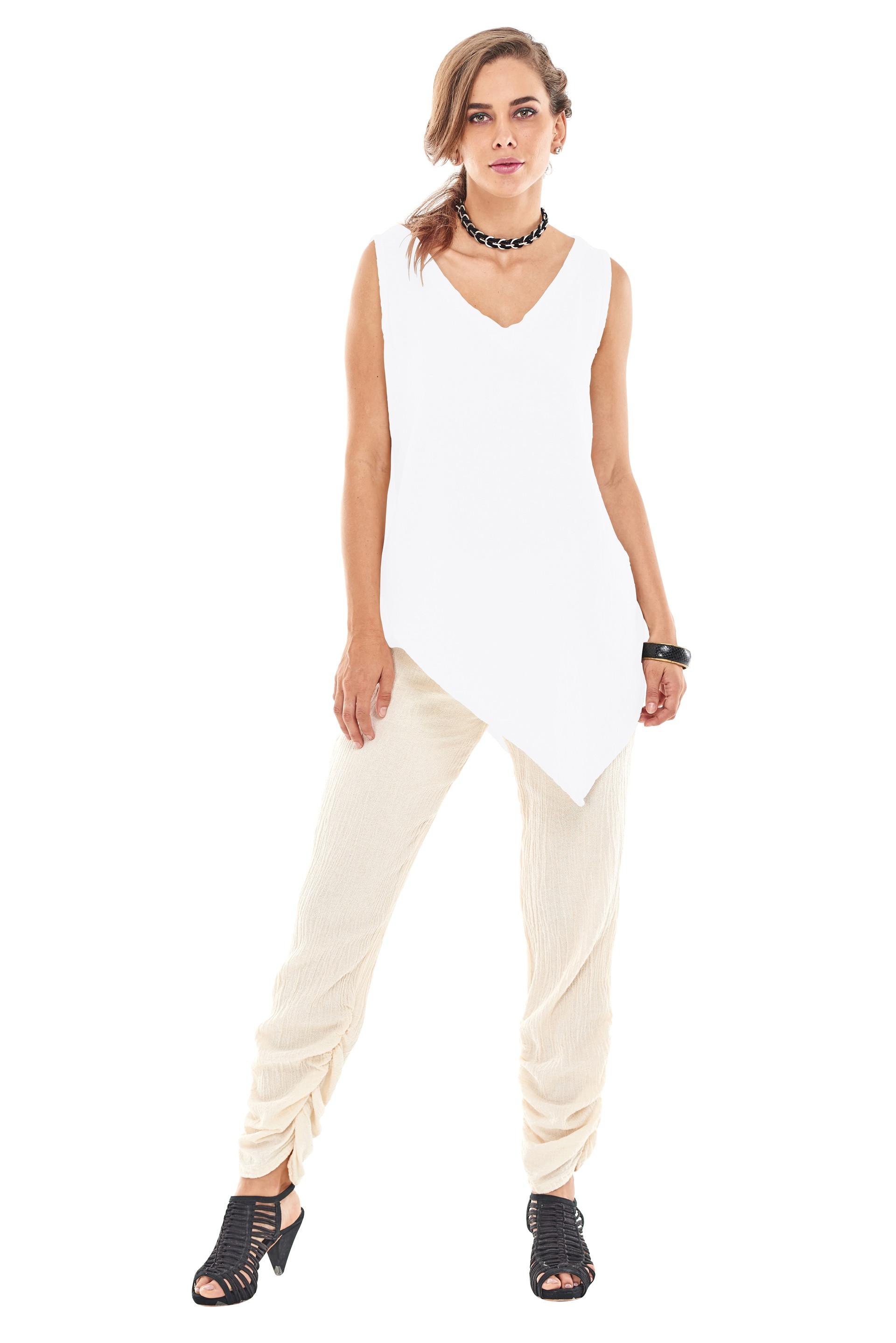 OMG - A v-neck cotton gauze sleeveless top with an asymmetrical side point and discreet pocket.