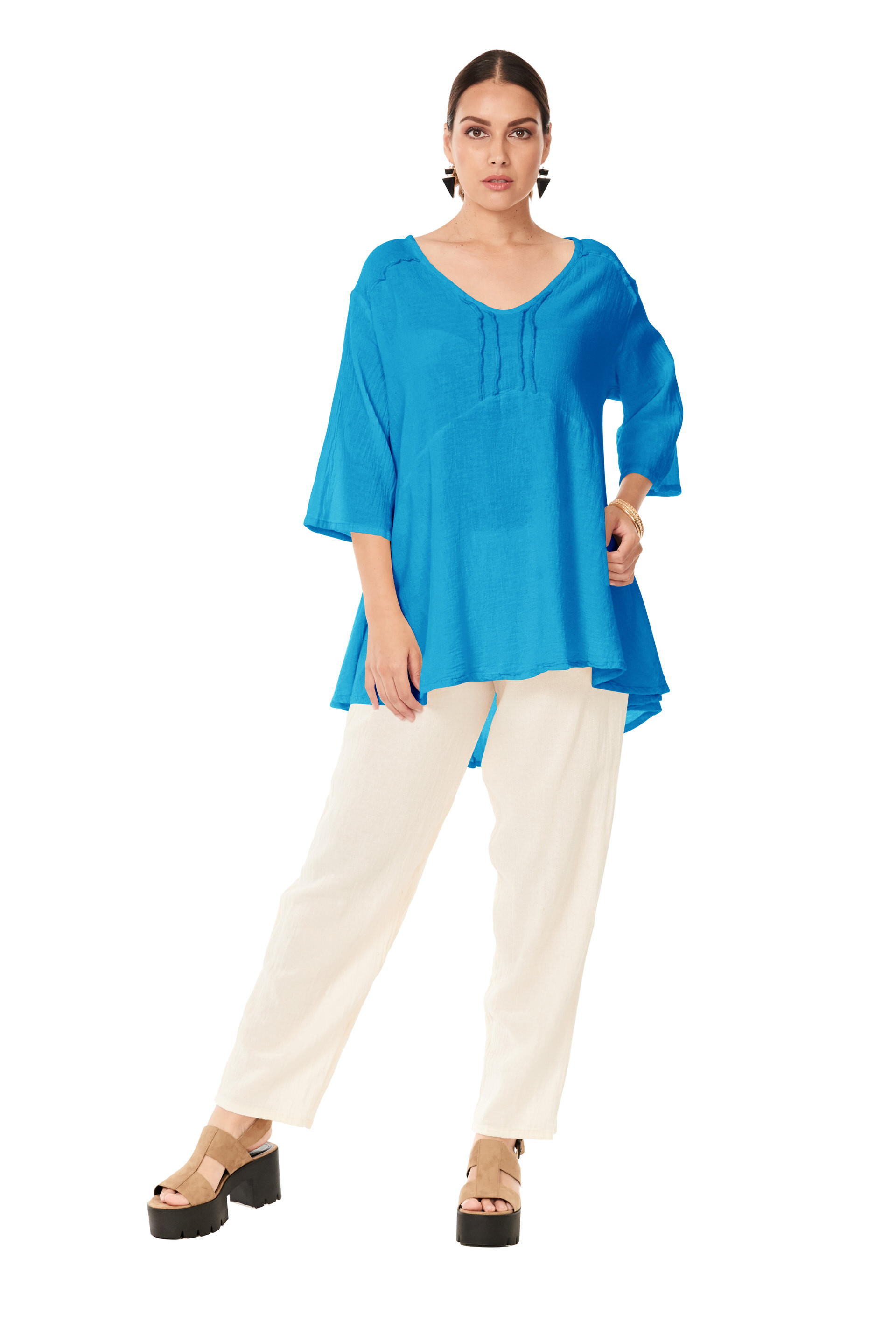 OMG - A three quarter sleeve cotton gauze top with front and back piping stitch detail, and an asymmetrical flowy hemline.