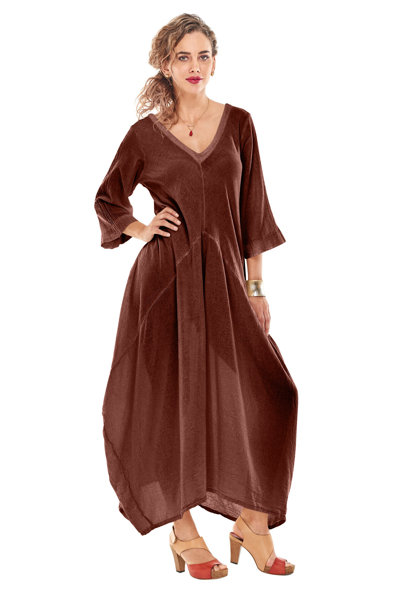 OMG - A long V-neck cotton gauze dress, three quarter length sleeve with a semi fitted empire waist. Super flattering and is our best selling dress.