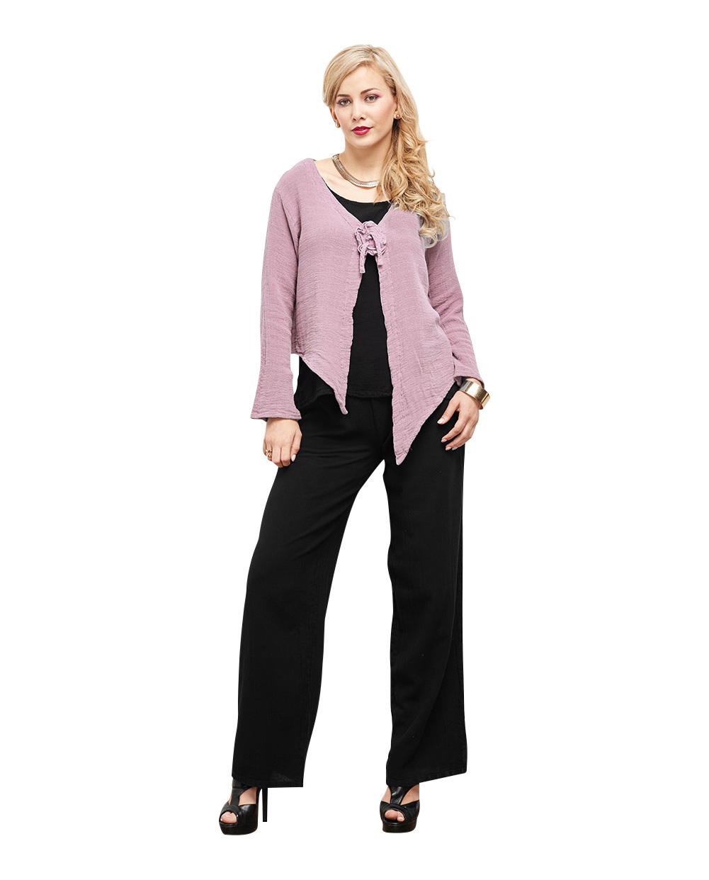 OMG - A long sleeve button less cotton gauze jacket that has point detail at the hemline and secured together by a attractive flower design.