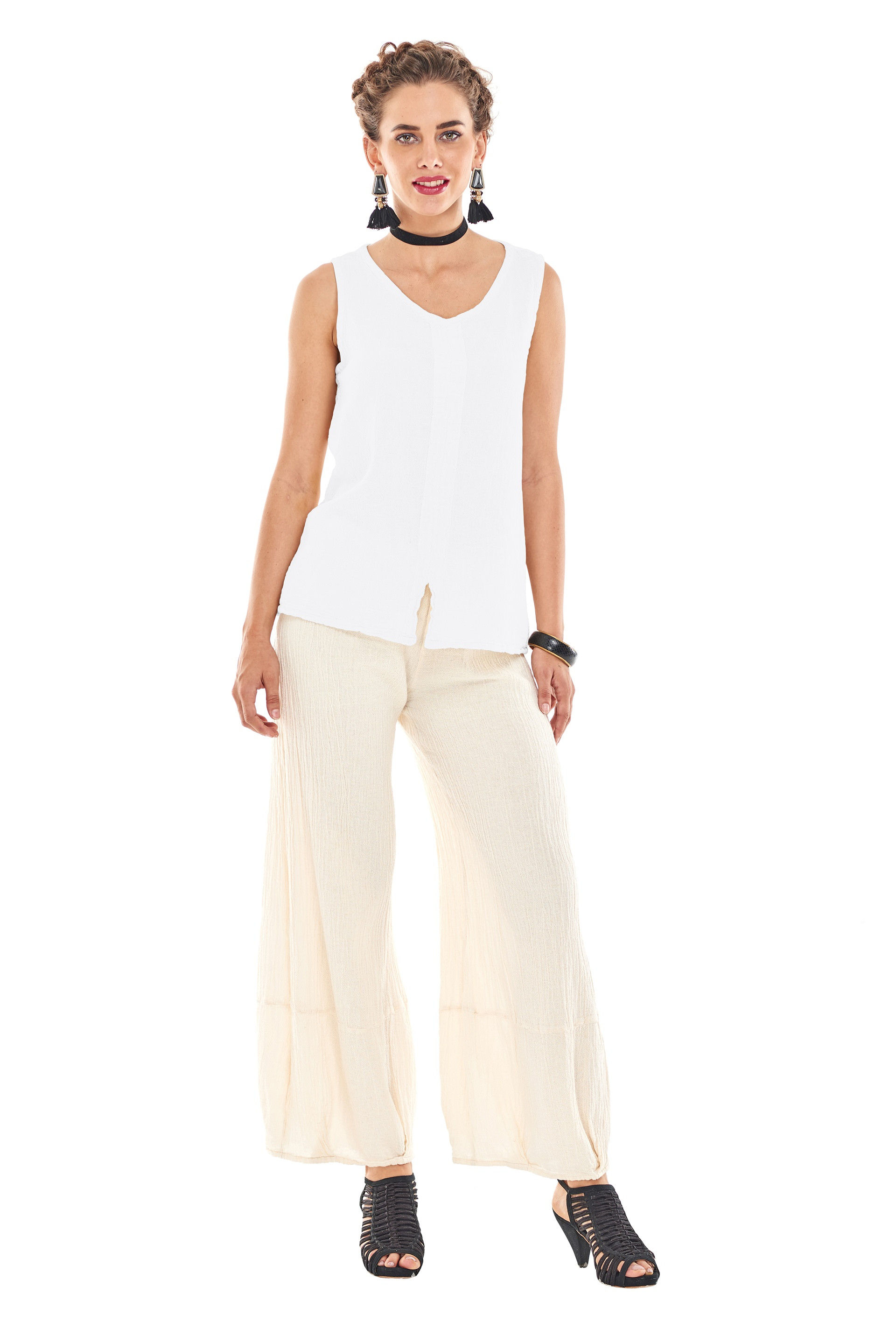 OMG - A simple, V-neck cotton gauze sleeveless top with a slight A-line cut.