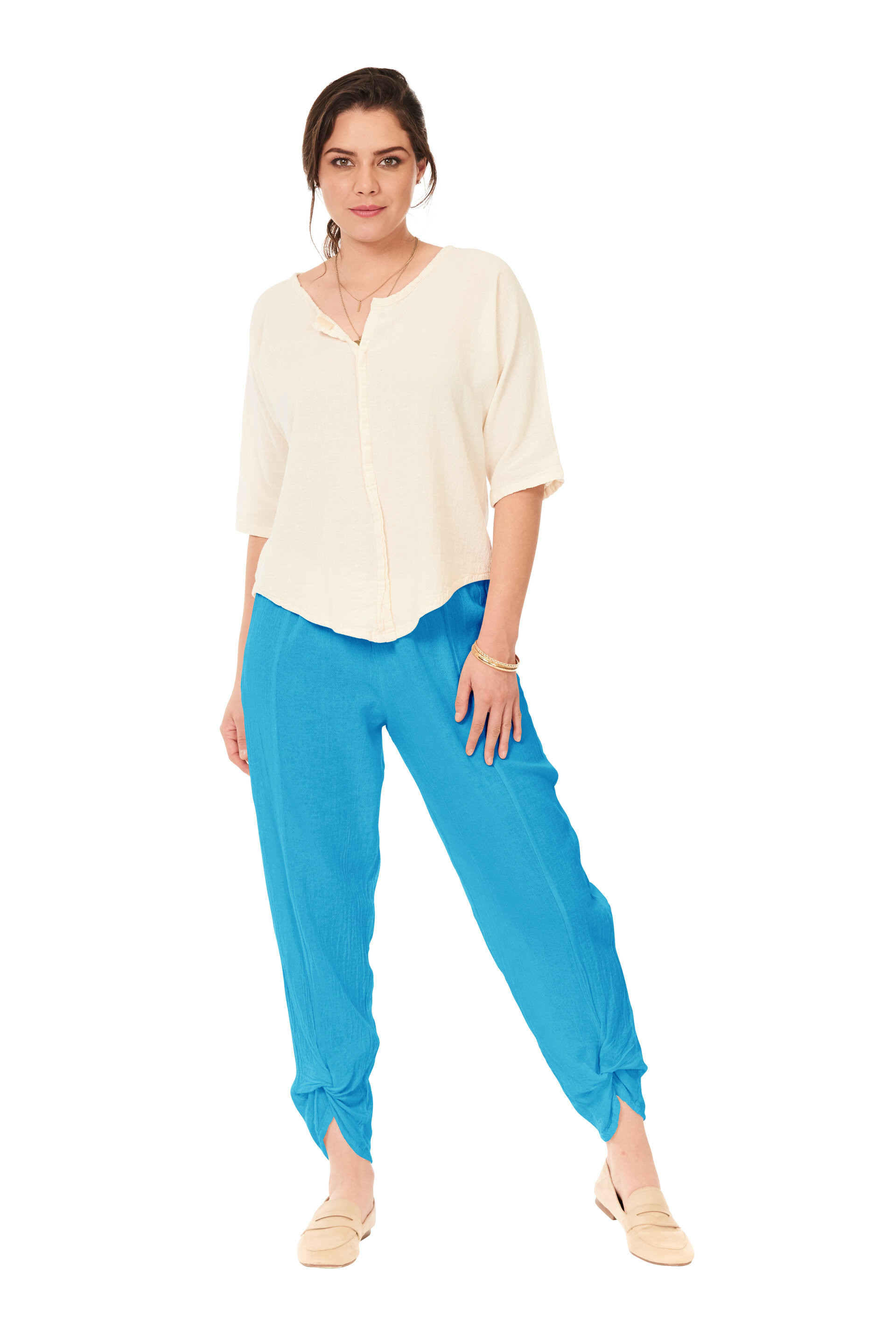OMG - A tapered cotton gauze pant with a twisted detail hem.