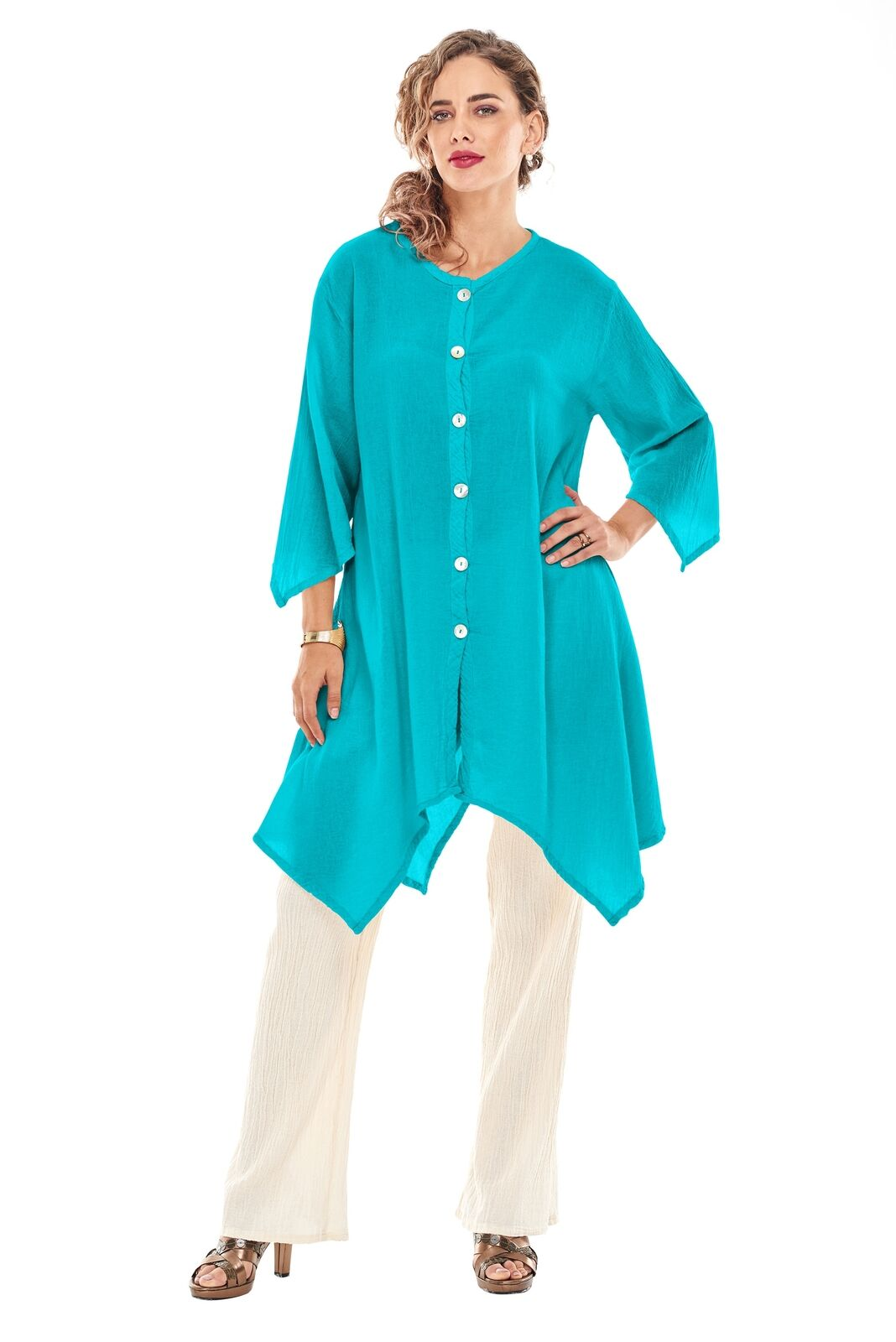 OMG - A simple button down cotton gauze jacket with long sides.  It is often worn as a top!