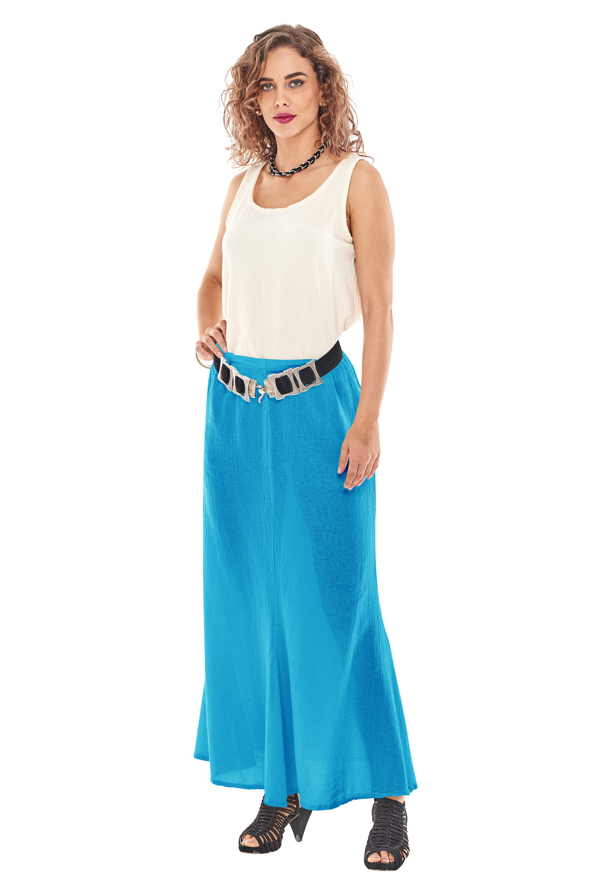 OMG - A popular, flared hemline cotton gauze skirt for a slimming look. Very flattering!