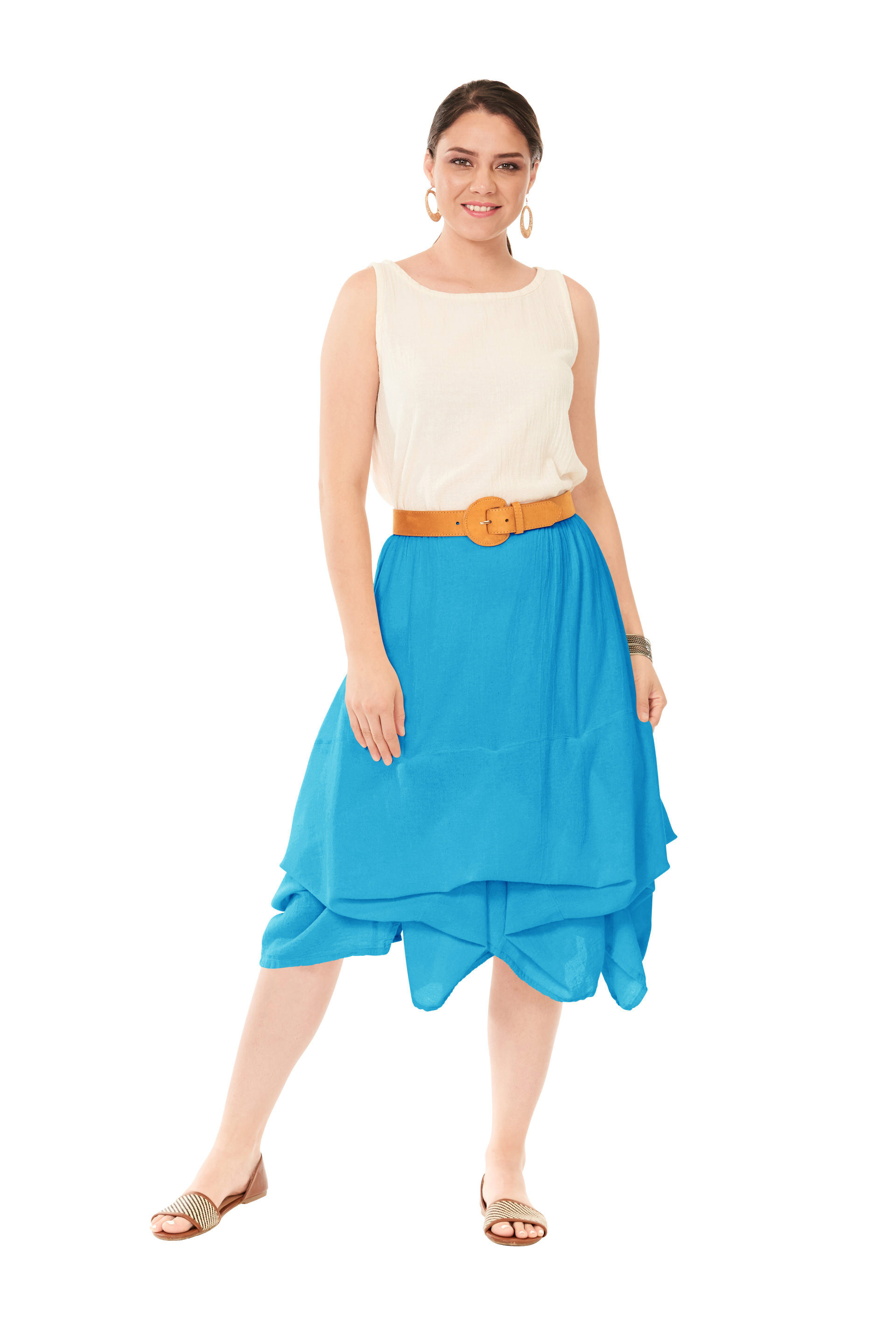 OMG - A mid length lagenlook cotton gauze skirt with adjustable layers.