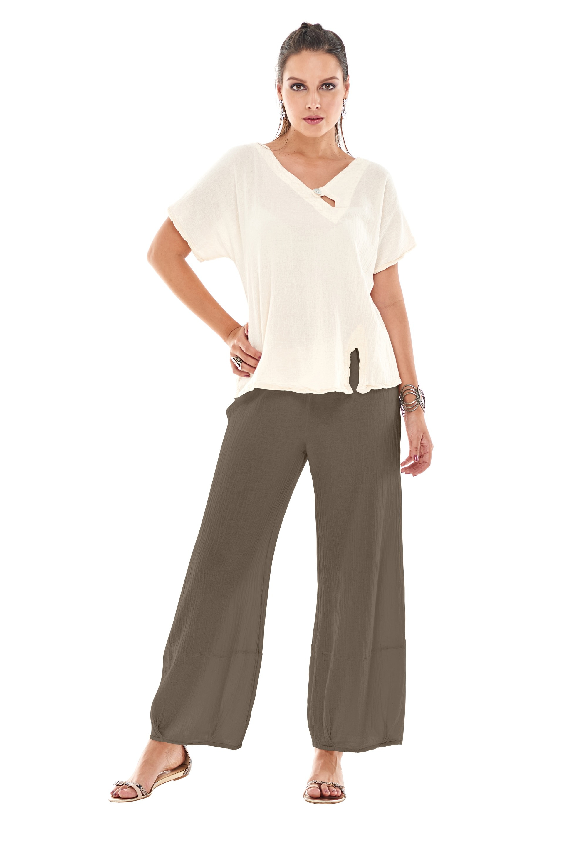 OMG - A loose legged cotton gauze pant with a tucked hemline and harem appearance.