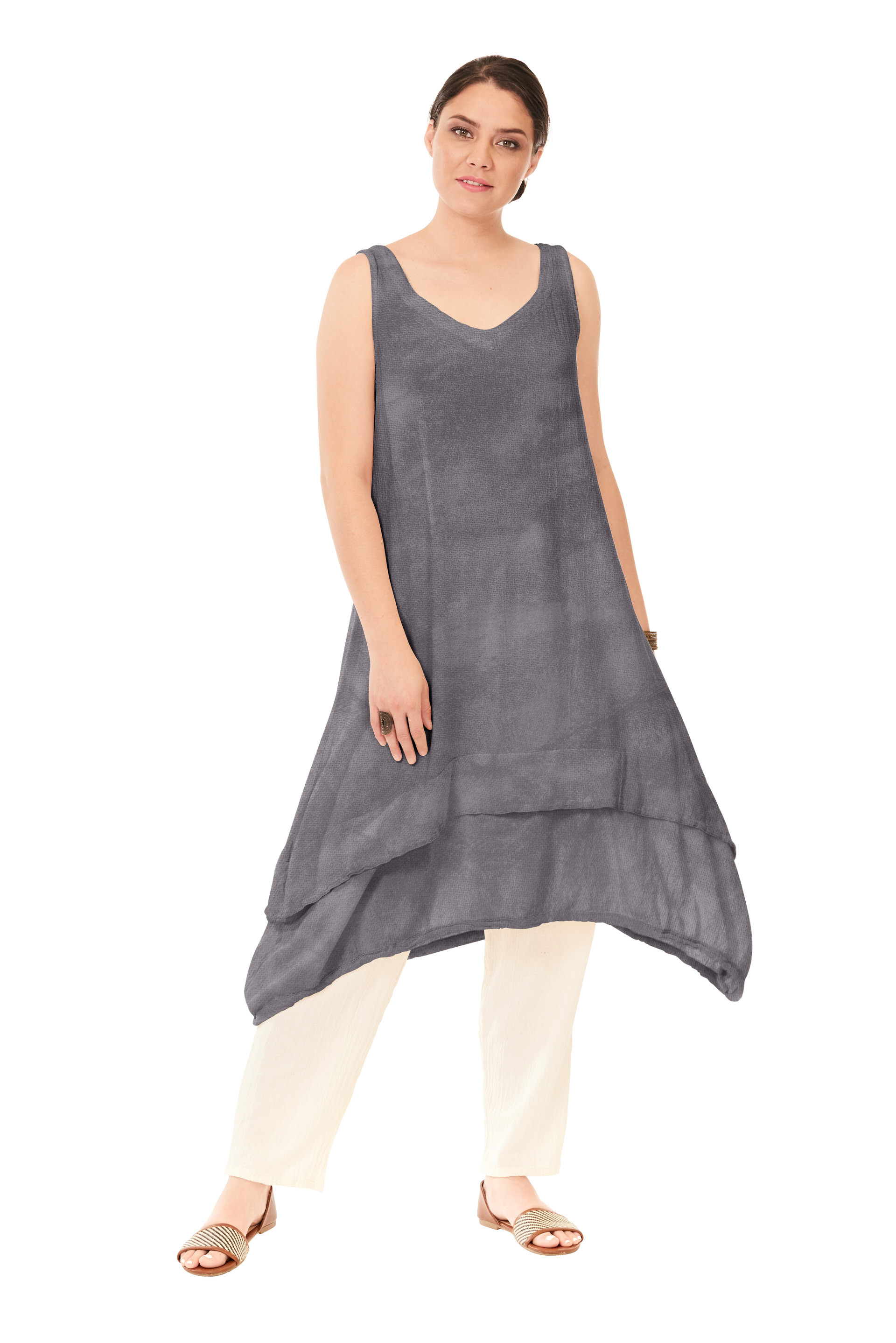 OMG - A V-neck sleeveless cotton gauze tunic top with double layered hemline.  This piece can be worn as a dress or vest too!