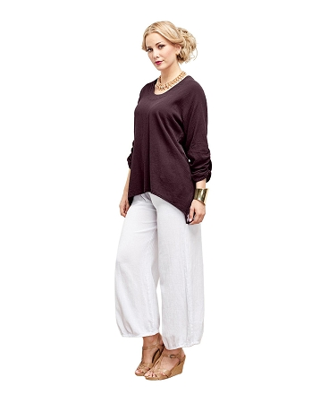 OMG - Our popular, cotton gauze top with sassy ruching sleeves, flattering waist, and a oval neckline.