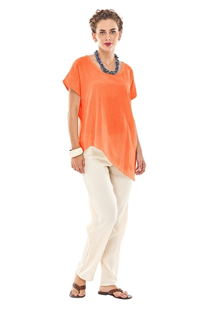 OMG -  A simple asymmetrical cotton gauze top with short sleeves.
