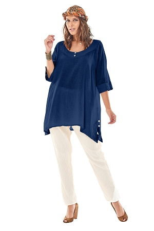 OMG - A two button scoop neck, cotton gauze top with two buttons at the cuff, and slit side hemline with tiny buttons.