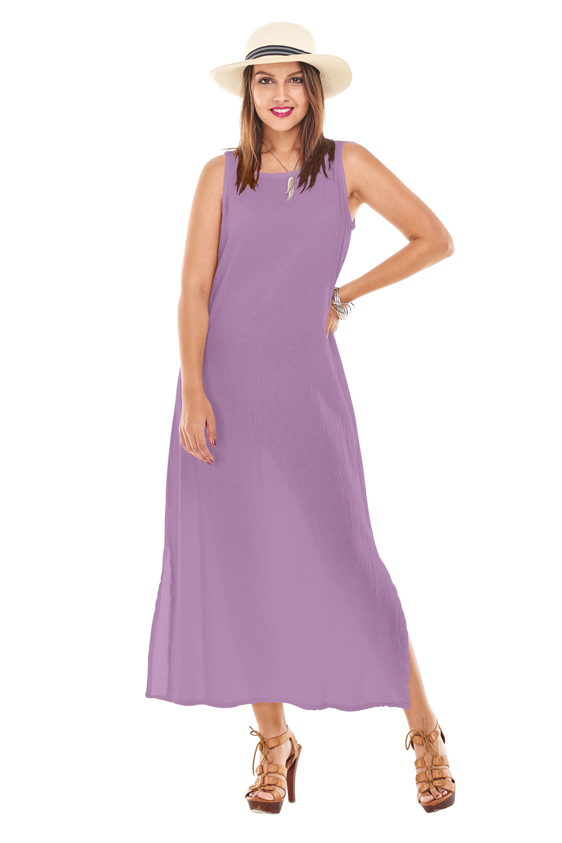 OMG - A simple modern cotton gauze tank dress with side slit detail and great for layering.