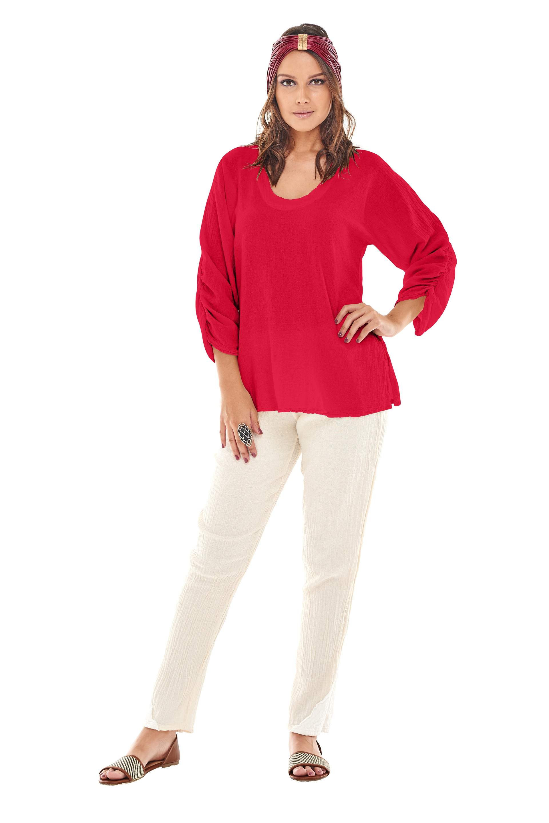 OMG - A three quarter sleeve cotton gauze top with rouched sleeve and round neck.