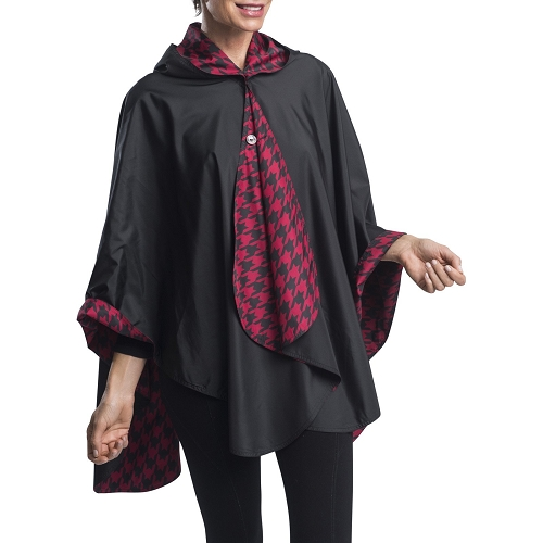 RainCaper -  Black with Crimson Houndstooth