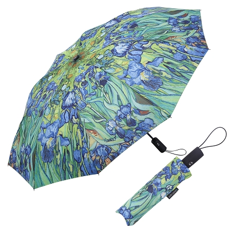 RAINCAPER VAN GOGH IRISES FOLDING TRAVEL UMBRELLA
