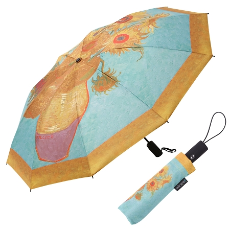RAINCAPER VAN GOGH SUNFLOWERS FOLDING TRAVEL UMBRELLA