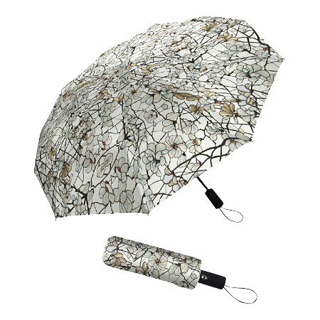 RAINCAPER TIFFANY MAGNOLIA FOLDING TRAVEL UMBRELLA