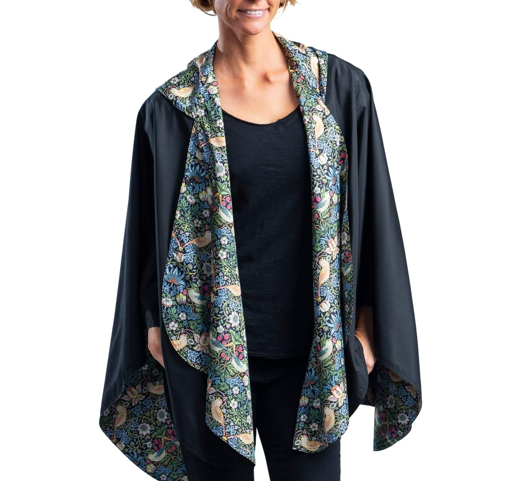 RAINCAPER BLACK/WILLIAM MORRIS STRAWBERRY THIEF TRAVEL CAPE