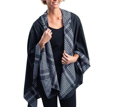 RainCaper -  - Black with B&W Houndstooth Plaid