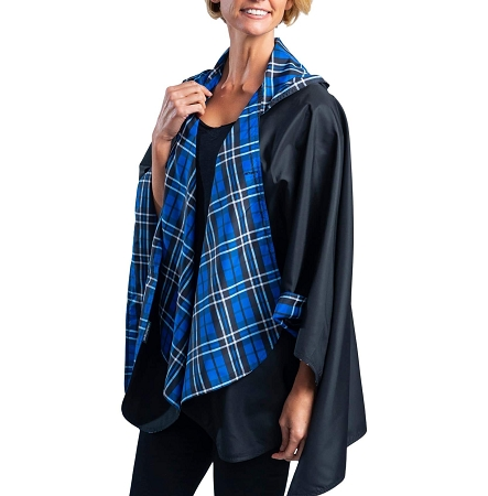 RainCaper -  Black with Royal Tartan