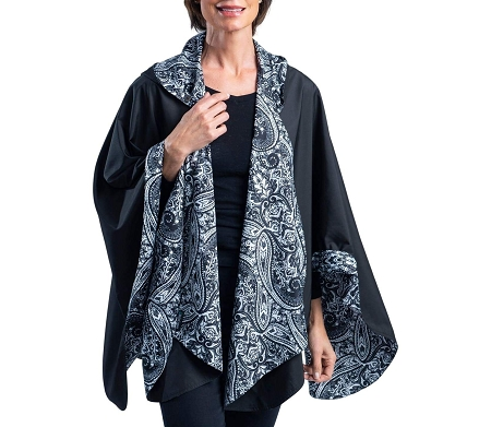 RainCaper -  Black with B&W Paisley