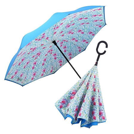 RAINCAPER AQUA/SPRING WATERCOLOR REVERSE UMBRELLA