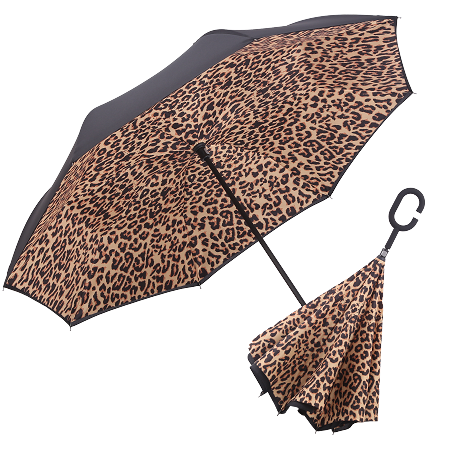 RAINCAPER BLACK/LEOPARD REVERSE UMBRELLA