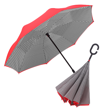 RAINCAPER CRIMSON/BLACK & WHITE HOUNDSTOOTH REVERSE UMBRELLA