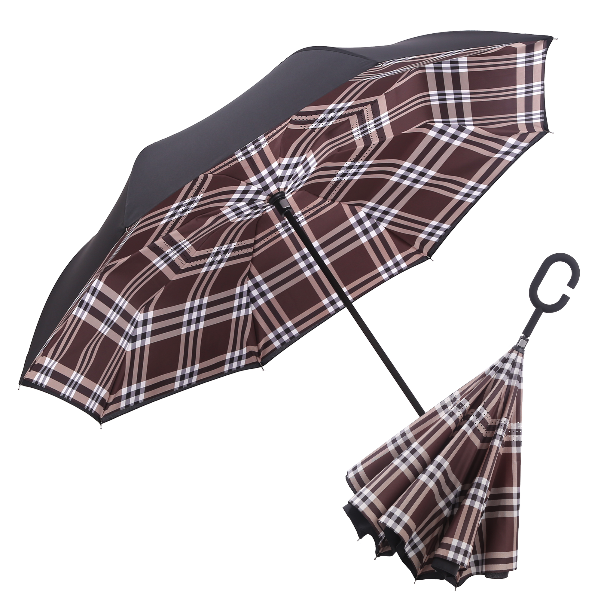 RAINCAPER BLACK/COCO PLAID REVERSE UMBRELLA